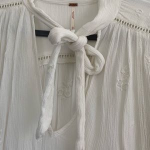 Free People Tops - Free People Embroidered Blouse with Front Bow Tie